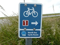 North Sea Cycle Route sign in Denmark